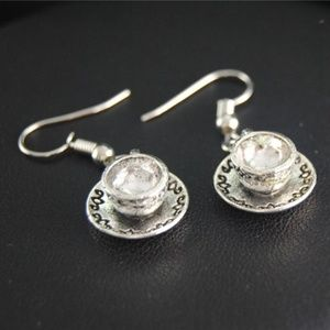 Jewelry - Silver Coffee and Tea Cup Earrings